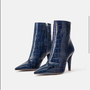 Zara Blue Animal Print Leather Booties